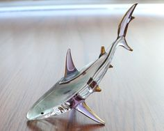 SHARK BLOWN GLASS FIGURINE ANIMAL MINIATURE HOME DECOR GIFT SEA MARINE FISH BLUE in Collectibles, Animals, Fish & Marine | eBay