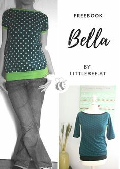 Bella Freebook Shirt Damenshirt FREEOOK Fledermausshirt einfaches Shirt mit Schritt für Schritt Anleitung als Gratis Download by LITTLEBEE