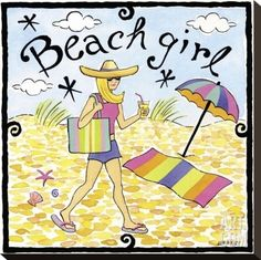 Let's go to the beach. Beach Girl illustration.