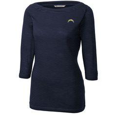 Los Angeles Chargers Cutter   Buck Women s Holly Park Tonal Stripe  3 4-Sleeve Knit T-Shirt - Navy 007369e15