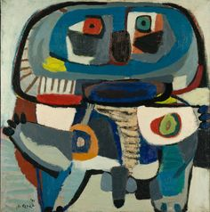 I think this is a mask. Christiaan Karel Appel was a Dutch painter, sculptor, and poet. He started painting at the age of fourteen and studied at the Rijksakademie in Amsterdam in the 1940s. He was one of the founders of the avant-garde movement Cobra in 1948