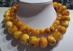 Massive Antique Baroque Egg Yolk Round Beads Baltic Amber Long Necklace 147.6gr #Handmade #Necklace