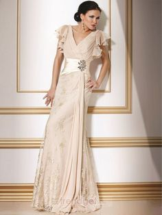 Love this for Mom!!! Young A-line V-neck Ankle-length Chiffon Lace White Mother of the Bride Dresses - $152.99 - Trendget.com