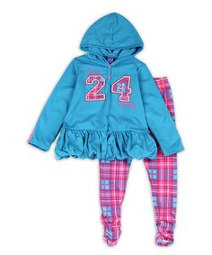 This Blue '24' Ruffle Hoodie & Leggings - Toddler is perfect! #zulilyfinds
