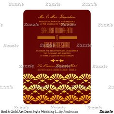 Red & Gold Art Deco Style Wedding Invites