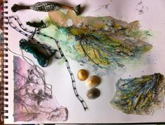 Sketchbook page - barnacles and seaweed, hopefully the starting point for  textile project!