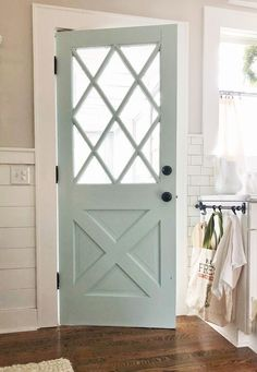 Love this for the side porch door! Grey Exterior, Exterior Paint Colors, Agreeable Gray, Front Door Colors, Entry Doors, Garage Doors, Home Renovation, Home Remodeling, First Home