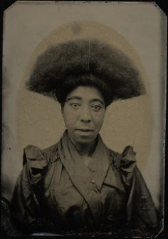 "Bust portrait, woman with ""Afro"" hair dressing  From: Randolph Linsly Simpson African-American collection  http://brbl-dl.library.yale.edu/vufind/Record/3519705?image_id=1009656"