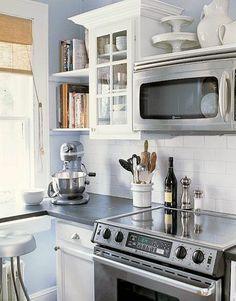 No cabinet above microwave range hood.
