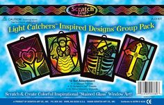"""Scratch-Art Classroom Packs Inspired Designs Light Catchers Group Pack by Melissa and Doug. $9.77. Made in USA. Dimensions are 7 3/4"""" x 6"""", 12 design frames, 3 each of 4 designs: angel, cross, heart and hands, and noah's ark. 12 sheets of scratchlite """"stained glass"""". Deal for Sunday school, bible camp, or other religious educational programs. 12 Heavy-duty wood drawing styluses. From the Manufacturer                Deal for Sunday school, Bible camp, or other religious e..."""
