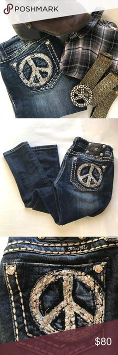 "Miss Me Peace Skinny Jeans Beautiful, like new, pair of Miss Me ""Peace"" skinnies in dark, distressed wash #243. Length is 31"", waist is 14"" across, and rise is 7"". Miss Me Jeans Skinny"
