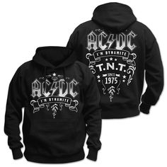 AC//DC High Voltage Circle Seal Black Pullover Hoodie Sweatshirt New Official