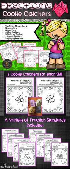 This set of fraction cootie catchers is a perfect resource to include into your math lesson plans! Full of a variety of fraction standards, your students will be begging for these math