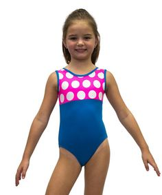 Look at this #zulilyfind! Neon Pink & Turquoise Dot Leotard - Girls by Ferreira #zulilyfinds