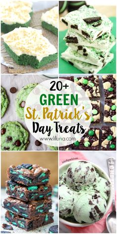 A roundup of 20+ delicious green desserts and treats just in time for St. Patrick's Day! Check it out on { lilluna.com }!! Cookies, cake, ice cream, and so much more!!