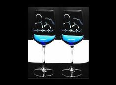2 Dressage Horse & Arena ETCHED Wine Glasses w/ ENAMEL PAINT accents - Choose Blue, Clear or Green