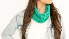 Lightweight Knit Spring Infinity Cowl Jade by vintagelookcreations