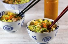 Delicious rice bowls filled with teriyaki chicken, mango, lettuce are dressed with a tangy carrot ginger dressing. Make extra for lunch during the week.