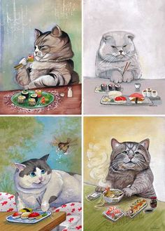 Sushi cats... without the soy, of course.