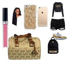 """""""school n black n. gold gang 🔫🚬"""" by pettyallthe on Polyvore featuring beauty, Boohoo, Moschino, Michael Kors and Christian Dior"""