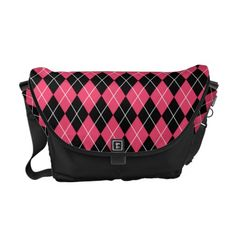 Pink and Black Punk Argyle Commuter Bag #PinkAndBlackObsession