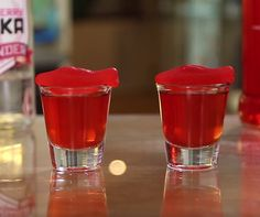 Swedish Fish Shots - For more delicious recipes and drinks, visit us here: www.tipsybartender.com