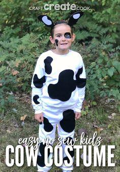 Craft Create Cook - No Sew Kids Cow Costume - Craft Create Cook Kids Cow Costume, Owl Costume Diy, Animal Costumes For Kids, Toddler Costumes, Costume Ideas, Cute Halloween Food, Diy Halloween Costumes For Kids, Cool Costumes, Happy Halloween
