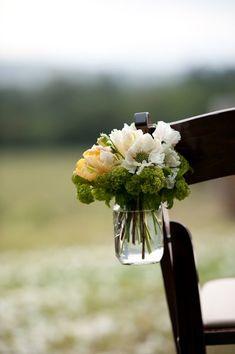 Mason Jar Aisle Markers Wedding Ceremony Photos on WeddingWire