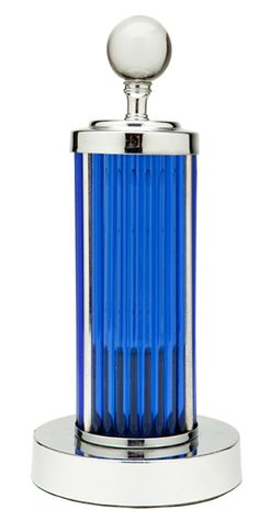 Art Deco Chrome and Cobalt Blue Glass Rods Table Lamp. @designerwallace