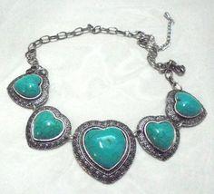 Big Bold Faux Turquoise Heart Adjustable Necklace #Unbranded #bigbold