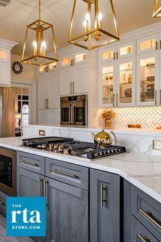 Visit us online! Cabinets For Less, Buy Kitchen Cabinets, Kitchen Room Design, Kitchen Cabinet Design, Home Renovation, Home Remodeling, Stone Kitchen Island, Food Storage Cabinet, Modern Dollhouse Furniture