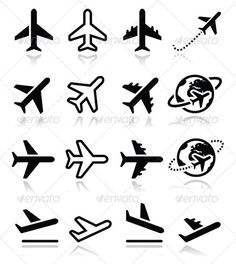 Airport Icons by RedKoala Vector black icons set of plane isolated on white FEATURES: 100 Vector Shapes All groups have names All elements are easy to mo Mini Tattoos, Cute Tattoos, Small Tattoos, Tatoos, Logo Photographe, Aircraft Tattoo, Travel Icon, Fly Travel, Travel Plane