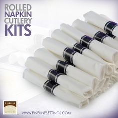 NEW ITEM: Rolled Napkins and Silver Cutlery Kits by Fineline Settings. http://www.finelinesettings.com/new-items