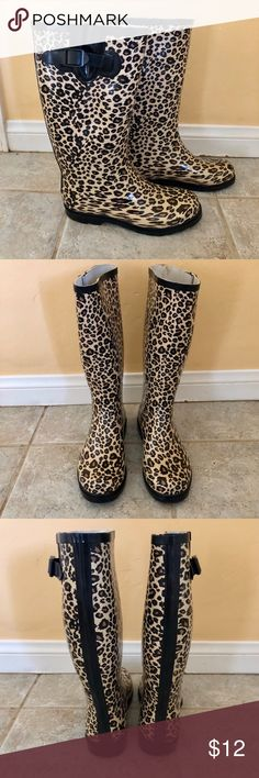 Leopard Print Rain Boots Your favorite rainy day accessory! Adorable rain boots in a classic leopard pattern. Qupid Shoes Winter & Rain Boots