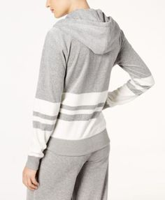 Calvin Klein Striped Zip Hoodie, a Macy's Exclusive Style - Gray XS