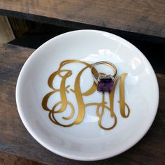 Monogrammed Ring Dish  Choice of Colors  Personalized by gotdecalz, $10.00 love the gold and white!