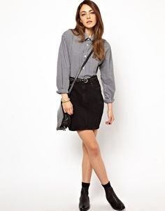 Vintage Re-made Levi's Mini Skirt in Black -Urban Outfitters ...