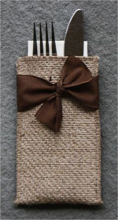 Hand-Tied Ribbon Burlap Silverware Pouch - Set of 8 - Cutlery Couture