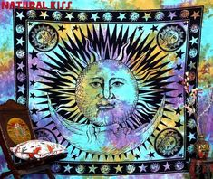 Psychedelic Celestial Indian Sun Hippie Hippy Tapestry Wall Hanging Throw Tie Dye Hippie Hippy Boho Bohemian Tye Die Hand-loomed Window Doorway Door Curtain, Size: X Inches - House of Junque Tapestry Curtains, Tie Dye Tapestry, Indian Tapestry, Mandala Tapestry, Tapestry Wall Hanging, Hippie Tapestries, Psychedelic Tapestry, Cheap Tapestries, Wall Hangings