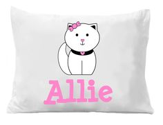 Kitty Cat Pillowcases , Girls Personalized Pillowcase , Kids Bedding Pillow Cases , Kids Personalized Pillow Cases by The Trendy Butterfly Image is Directly Printed on the Pillow Case, these are not Heat Transfers! Monogram Pillowcase, Cat Cat, Cats, Personalized Pillow Cases, Cat Pillow, Pillowcases, Bedding, Southern, Kitty