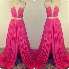 2016 Custom Made Sexy Fushica Floor Length Slitp Chiffon Prom Gowns,Sexy Prom Dresses, Prom 2015, Evening Dresses, Formal Dresses