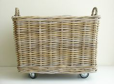 Simple Basket Storage Ideas Made Of Rattan - JustHomeIdeas Laundry Basket On Wheels, Nantucket Beach, Rattan Basket, Toy Basket, Laundry Hamper, Laundry Rooms, Floor Design, Home Organization, Organizing