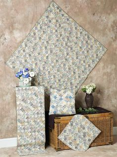Light Floral Square Quilts | Choices Quilts offers Light Floral Square Quilts handmade for you! You can shop online or call us toll-free @ 1-800-572-2070 or 770-641-9700.