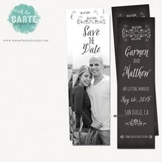 Save the Date Bookmark Vintage Wedding Rustic Wedding Bookmark ...