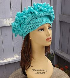 Turquoise Handmade Cloche Hats Spring Womens Hat, Winter Hats, Floppy Crochet Hat, Headpiece, Mad Hatter Tea Party Hat by strawberrycouture 1920s Headpiece, African Hats, Yarn For Sale, Steampunk Hat, Tea Party Hats, Mad Hatter Tea, Winter Hats For Women, Craft Patterns, Diy For Kids