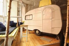 Huttenpalast Hotel uses campers inside an old factory as guest rooms!#travel