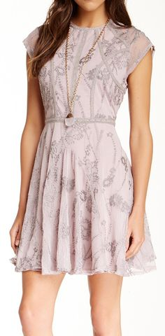 Embroidered lavender dress