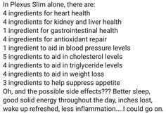 When you think Plexus is just for weight loss, this should blow your mind! Slim is for your health not just weight loss. Look at starting your New Year's resolution to improve your health a little early. Free shipping till December 14th should help too!