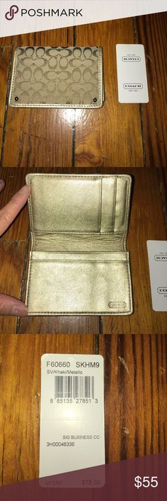 Coach Business Card Holder Coach Business Card Holder - Khaki/Gold Coach Accessories Key & Card Holders