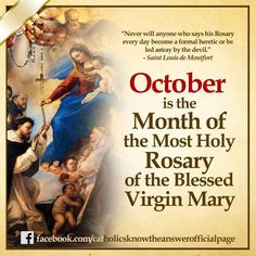 from - In this month of October let's us strive to pray the Holy Rosary given to us by the Blessed Virgin Mary, everyday. May this prayer bring peace to the world. Catholic Theology, Catholic Religion, Rosary Catholic, Catholic Prayers, Catholic Saints, Catholic Traditions, Catholic Quotes, Blessed Mother Mary, Spirituality